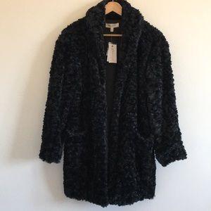 Philosophy | Black Faux Fur Coat Pockets